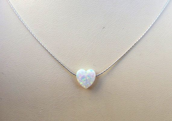 White opal heart necklace tiny heart necklace gold by Salshelima