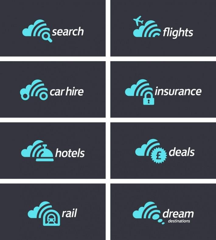 adaptación de el logo de Skyscanner a los diferentes productos de la empresa.   Identidad corporativa desarrollada por Stand
