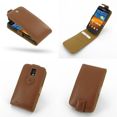 PDair Leather Case for Samsung Galaxy S II Epic 4G Touch SPH-D710 - Flip Top Type (Brown)