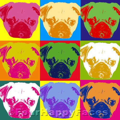 Pugs Pugs Pugs Pop Art Print  Digital PDF by FourHappyFaces, $8.00