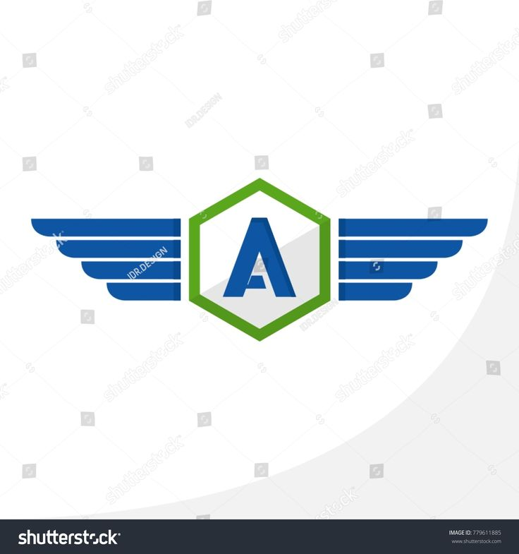Initial Letter A Hexagon Wings Vector Logo