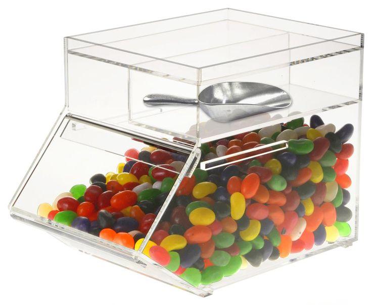 Plastic Candy Jars | 1 Gallon Acrylic Bin w/ Slide-In Door