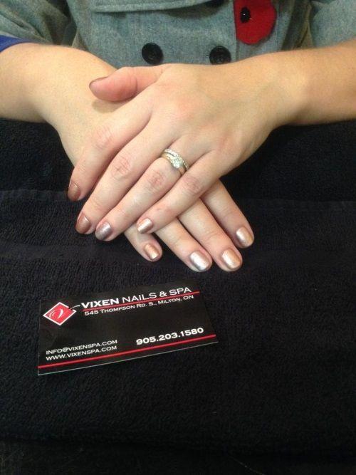 Rose Gold Shellac Manicure www.vixenspa.com