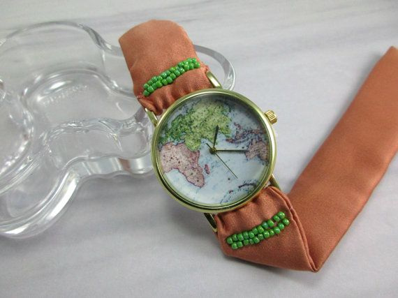 Womens Map Watch- World Map Watch- Map Wrist Watch- Fabric Watch Wrap- Silk Coral Wrap- Bracelet Watch-Wrist Watch Globe- 35th Birthday Gift