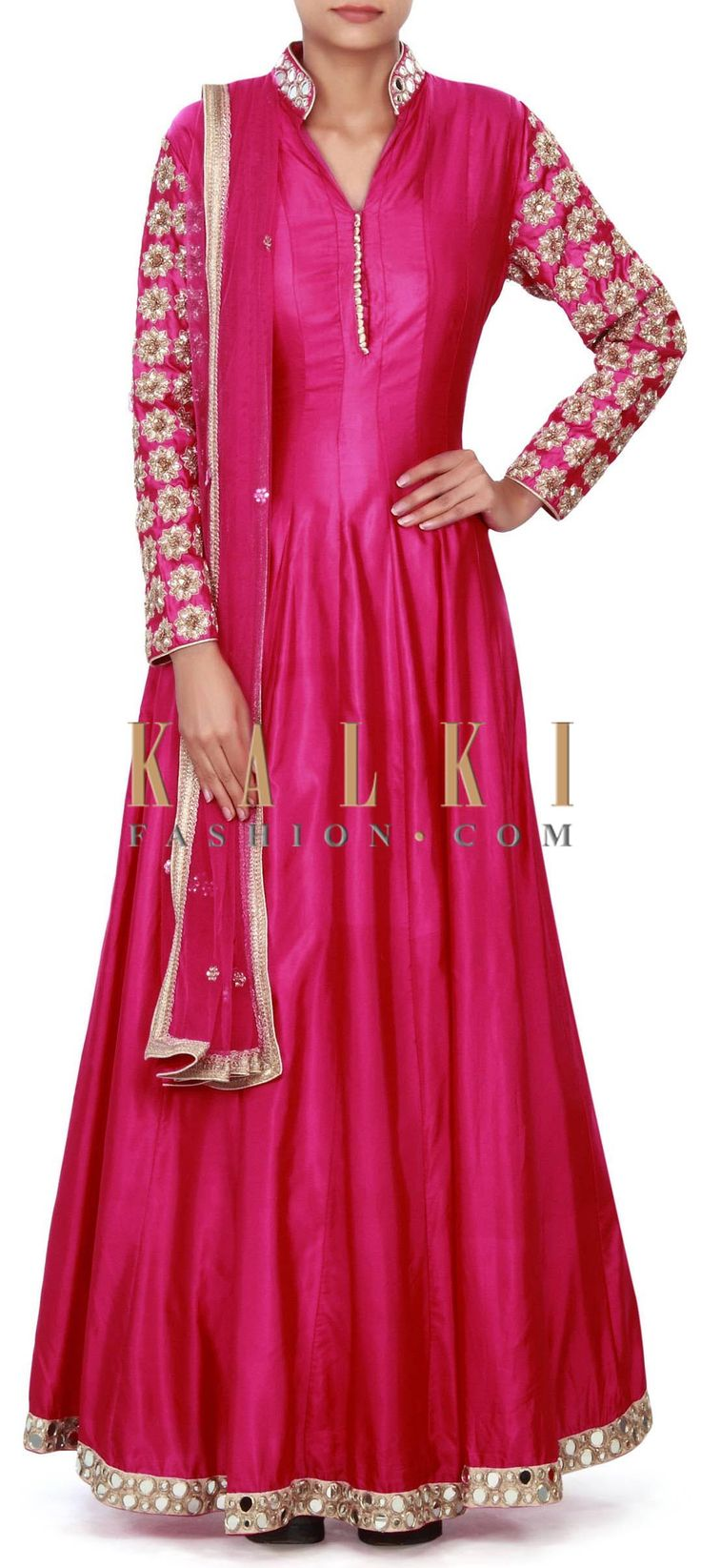 Buy Online from the link below. We ship worldwide (Free Shipping over US$100) Price-$419 Click Anywhere to Tag http://www.kalkifashion.com/pink-anarkali-suit-adorn-in-mirror-and-zardosi-embroidery-only-on-kalki.html