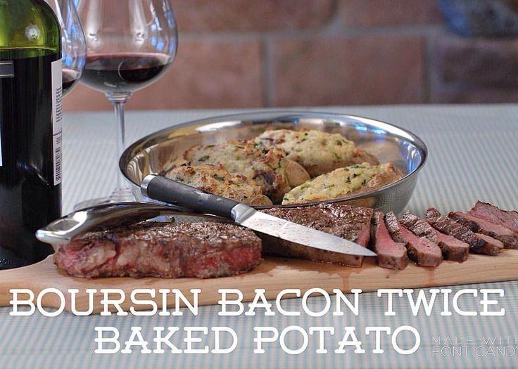 Recipe of the Day!> Boursin Bacon Twice Baked Potato> Oozing with Boursin cheese, bacon and sharp horseradish!