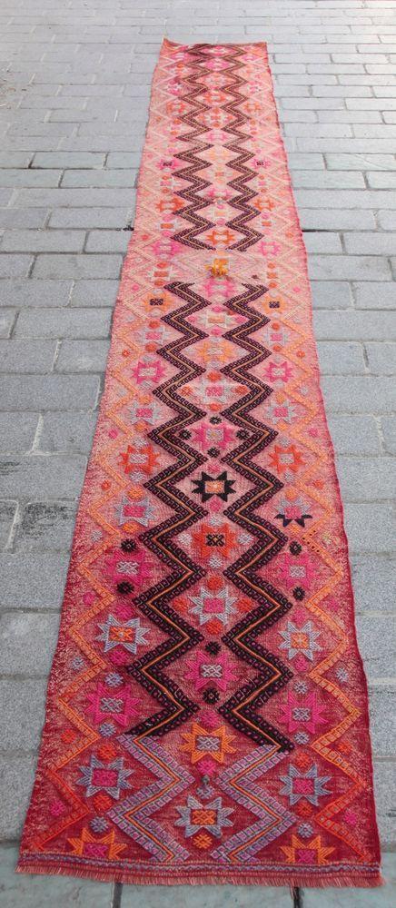 Kilim Runner,Konya Cicim Kilim Turkish Kilim Carpet,kilim Runner,Hallway Rug. #Tribal