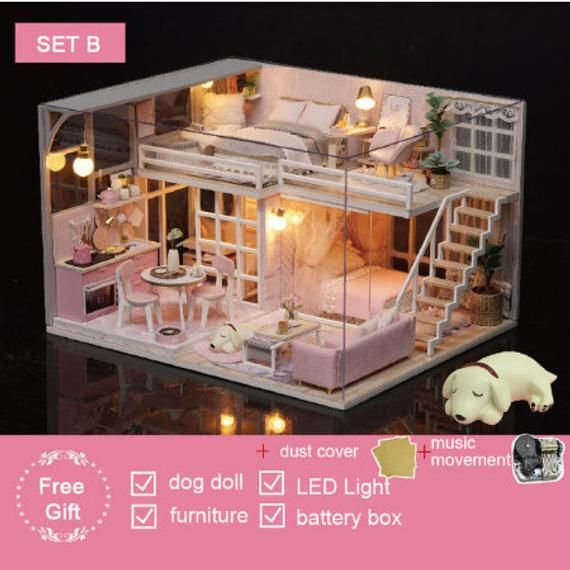Doll House Miniature DIY Kit Dolls House Furniture Music LED Handcraft Toy Gift