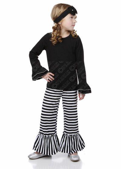 One Posh Kid Ruffle Black Stripe Ruffle Set $44
