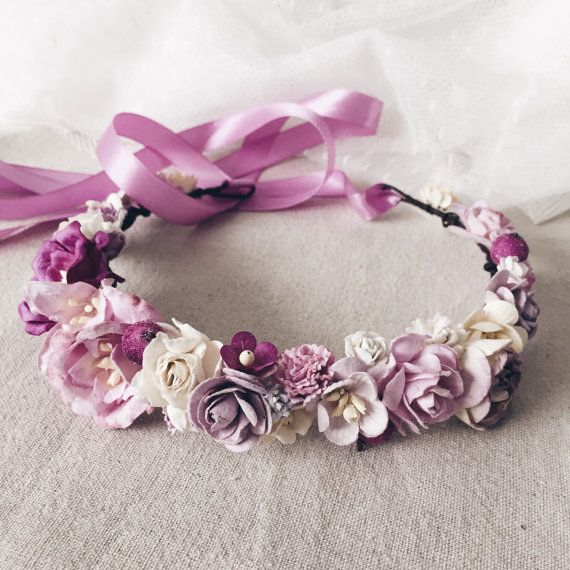 Floral crown Purple flower crown Boho headpiece Floral by SERENlTY