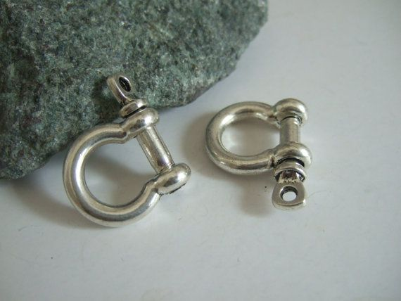 Antique Silver Bow Shackle Clasp with Screw Pin 8mm for Paracord Bracelet AK123