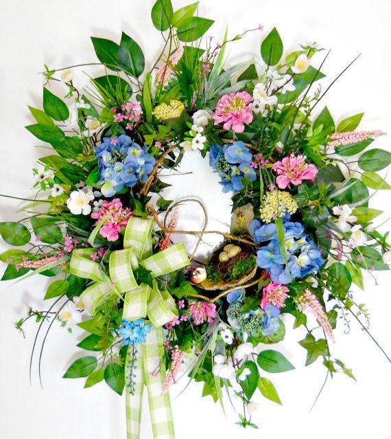 Large Spring/Summer Decorative Wreath Blue by ArtificialWreaths, $112.00