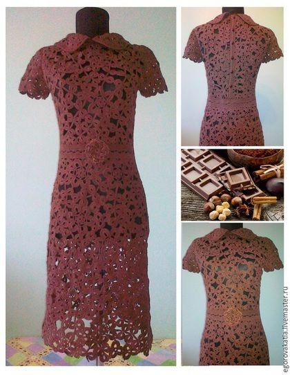 Купить или заказать ШОКОЛАД- платье крючком в интернет-магазине на Ярмарке Мастеров. Очень красивое платье-связано крючком из тонкого высококачественного хлопка, в технике ирландского кружева. У платья прямой, приталенный фасон, небольшой рукав. красивый круглый воротник делает его элегантным,шикарным...