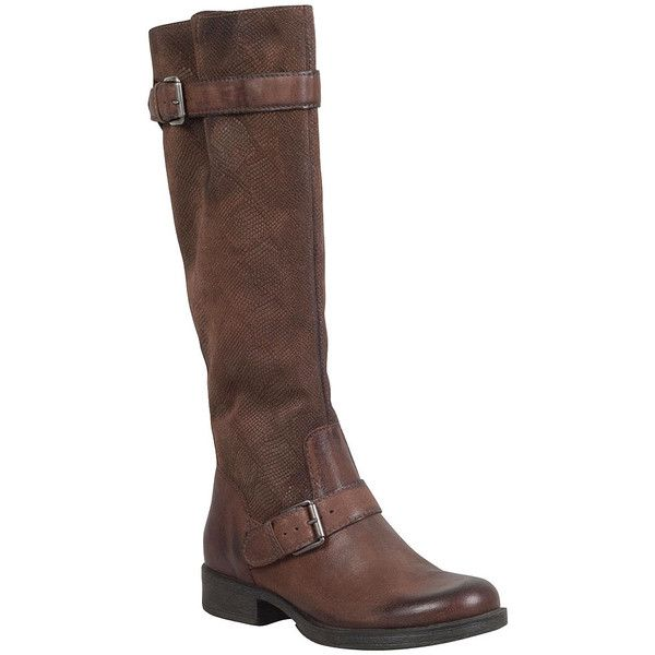 Miz Mooz Archer Women's Riding Boot F Riding Boot ($170) ❤ liked on Polyvore featuring shoes, boots, chestnut, chestnut boots, snake print boots, leather riding boots, leather equestrian boots and python boots