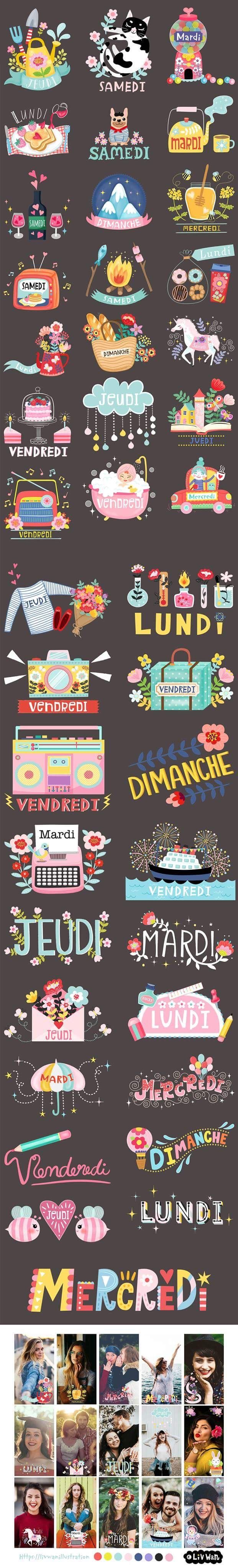 Stickers for Snapchat France. Illustrated by Liv Wan Illustration