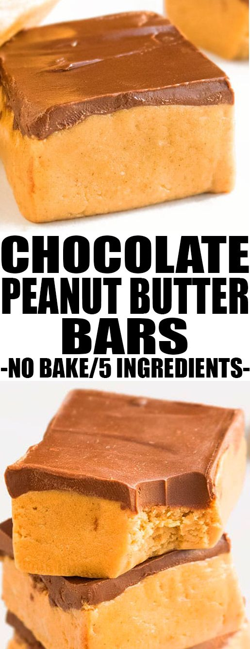 This quick and easy no bake PEANUT BUTTER BARS recipe is made with 5 simple ingredients. These chocolate peanut butter bars or lunch lady bars are rich and fudgy and great as a healthy snack or dessert. {Ad} From cakewhiz.com #nobake #peanutbutter #recipes #dessert