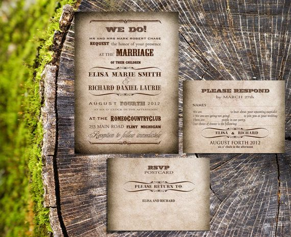 Rustic wedding invitations - Vintage Rustic Country wedding invites for wedding in barn or outside wedding