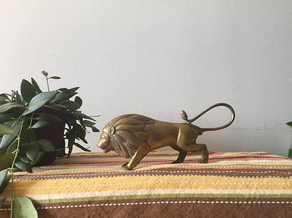 brass lion brass animal brass figurine office decor