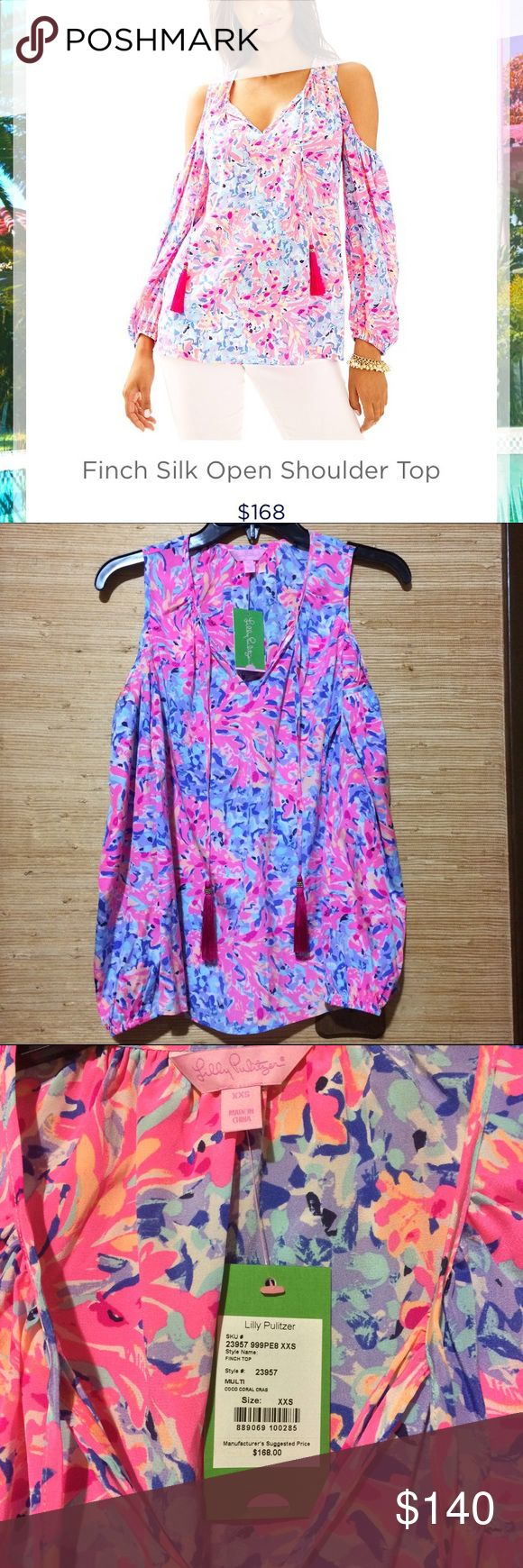 Lilly Pulitzer Finch Top NWT Lilly Pulitzer Finch top in the brand new print coco coral crab. Silk, cold shoulder top with fun tassels! Size xxs. Lilly Pulitzer Tops Blouses