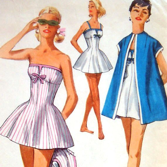 1950s Princess Line Bathing Suit & Beach Coat Vintage Sewing Pattern - Simplicity 1604 Bust 36