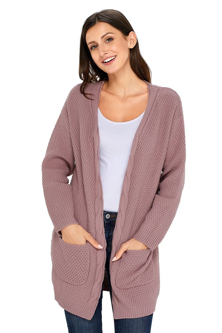 Fashion Fashion Pink Pocket Long Sleeve Cardigan ChicLike.com