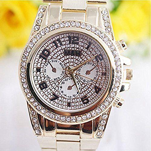Frauen Stilvolle Gold Legierung Armband Quarz Uhren Gold - http://uhr.haus/wkae/frauen-stilvolle-gold-legierung-armband-quarz