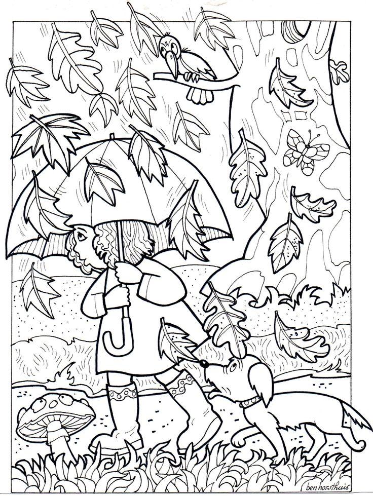 осень в лесу картинка раскраска