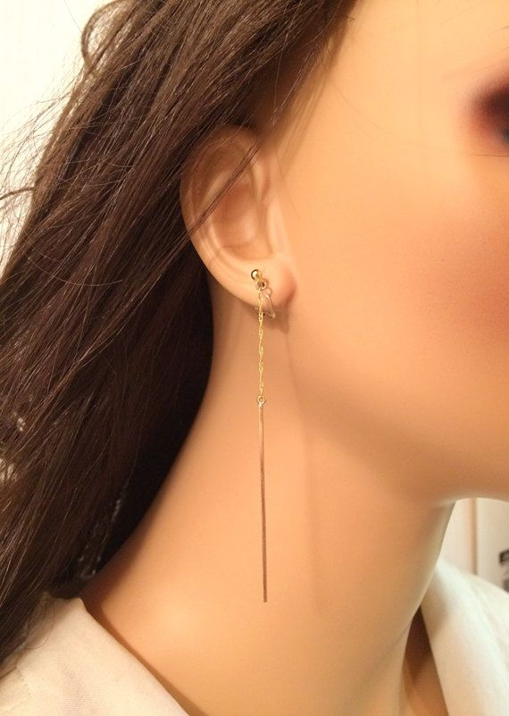 Long Gold Bar Earrings Clip On Earrings for Sensitive Ears