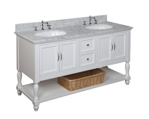 Beverly 60 Inch Bathroom Vanity (Carrera/White): Includes A White Cabinet