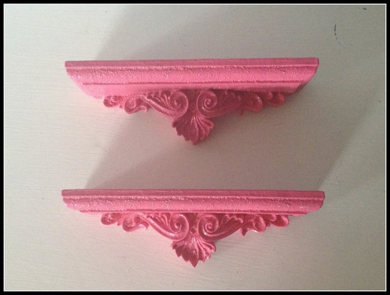 Pair Of Upcycled Hot Pink Wall Shelves Country Cottage