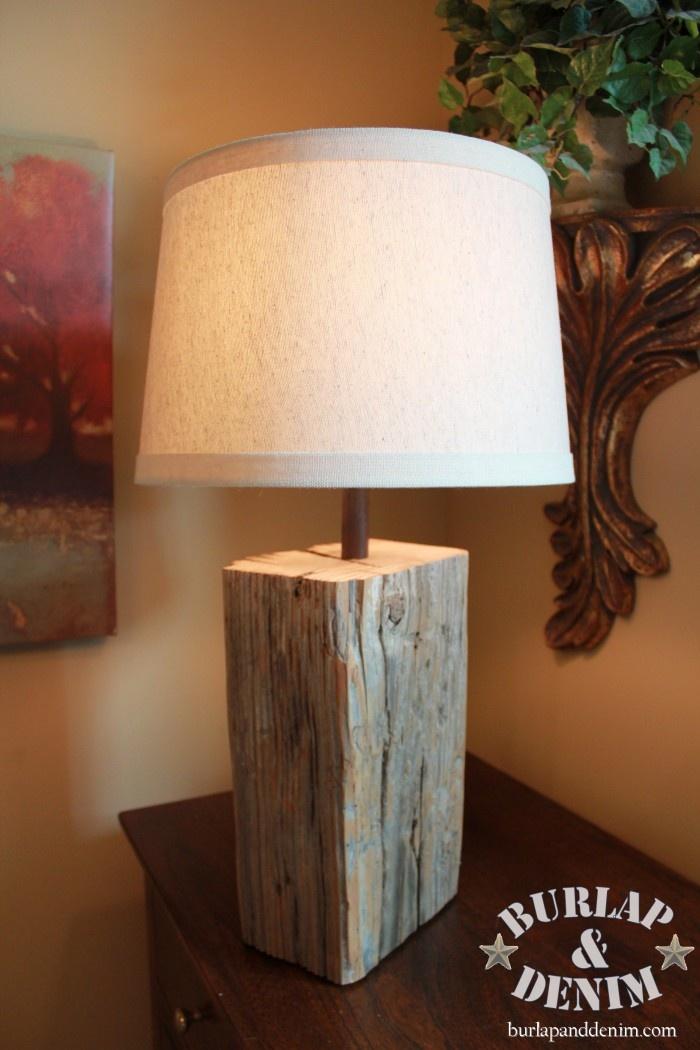 Salvage Wood Block or Beam Lamp Wood lamp shade, Wood