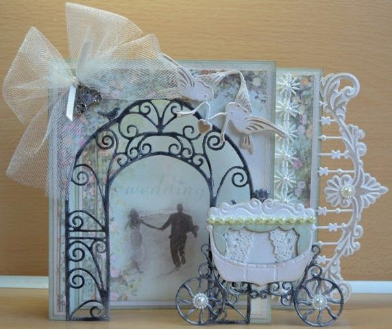 Card by DT member Astrid with among others Craftable Birds Pergola (CR1265) and Creatables Princess Carriage (LR0302) by Marianne Design