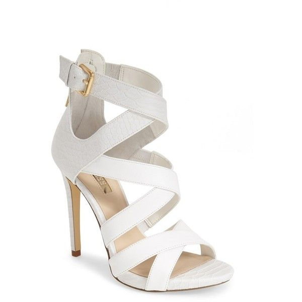"GUESS 'Abby' Strappy Sandal, 4 1/2"" heel ($120) ❤ liked on Polyvore featuring shoes, sandals, heels, sapatos, white leather, ankle strap shoes, strappy platform sandals, leather sandals, ankle wrap sandals and white sandals"