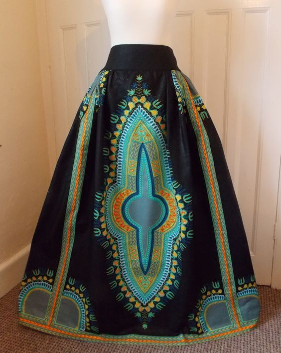 Dashiki Maxi Skirt - African High Waist Maxi Made to measure in UK for perfect fit and comfort with elasticated back waist Free Shipping UK