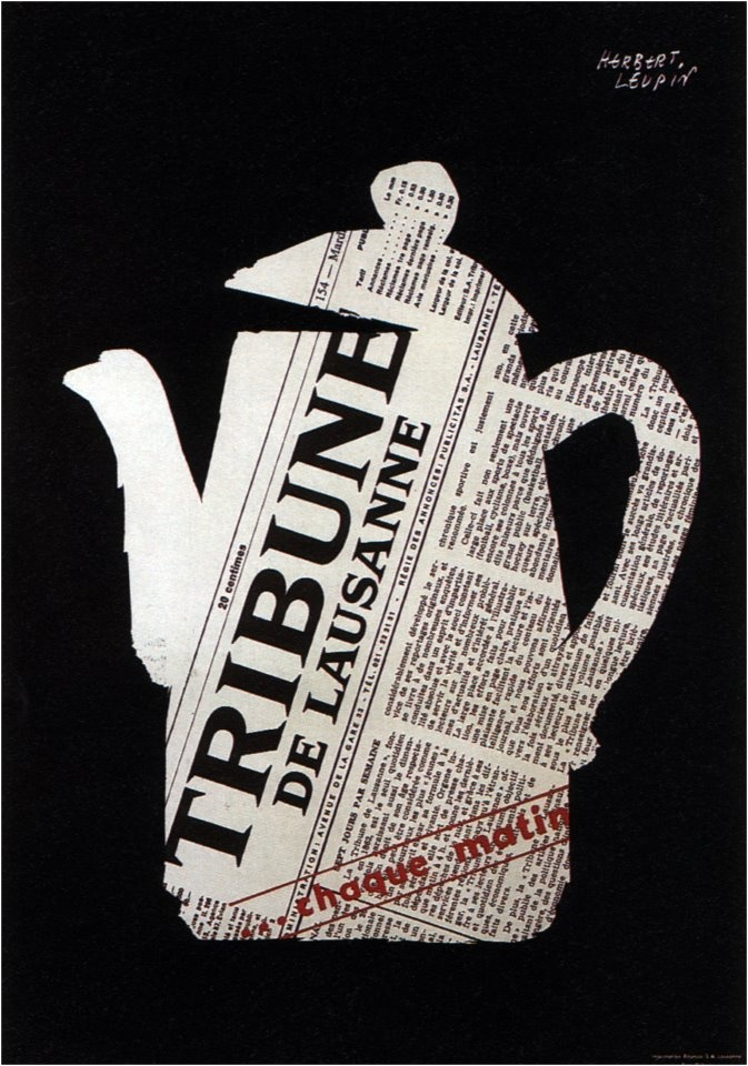 Herbert Leupin, poster for Tribune de Lausanne, 1955.