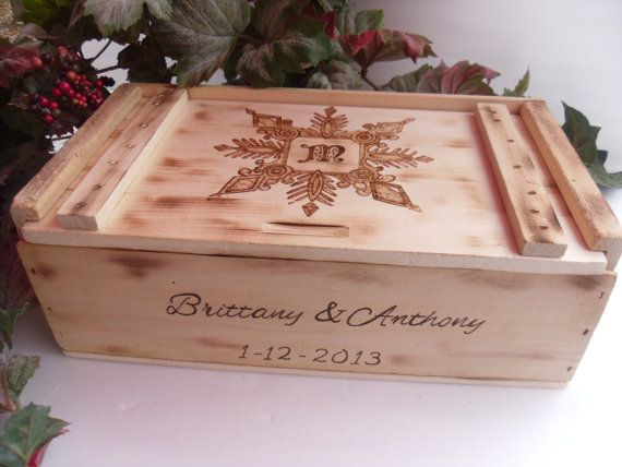 Wine Box  for Winter  Rustic Wedding with by willowroaddesigns