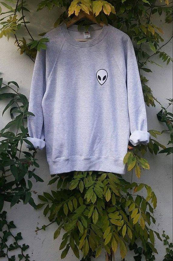 Gray Acid Alien Sweatshirt grunge tumblr by SpacyShirts on Etsy
