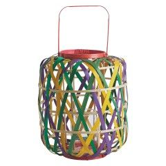 RIBAND Multi-coloured woven bamboo lantern 26x32cm