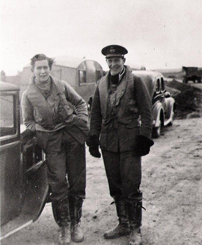 P/O John SB Jones (left) and P/O Douglas C Shepley of No 152 Squadron RAF take a…