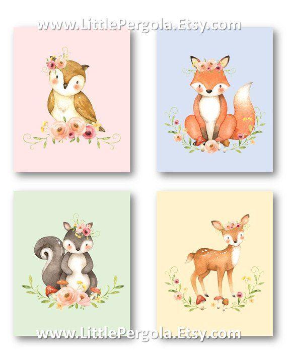 Watercolor Woodland Animals Flower Woodland Nursery Decor Etsy Kids Art Prints Woodland Nursery Decor Forest Animal Nursery