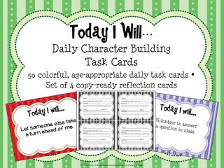 Today I Will...Building Character Task Cards   It's Character Counts Week! This starter set of task cards is a great tool to build character and community in your classroom especially with upper-elementary students.  Courage compassion kindness personal responsibility independence and generosity are among some of the many characteristics that these task cards focus on. In this starter set you will be able to download 5 of the task cards as well as suggested uses for these in your classroom…