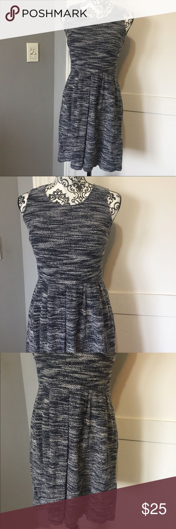 "Blue and white marled dress Marked blue and white dress from Ann Taylor loft. 19"" from waistband to hem.  Zips up back. Had some stretch to it.  Last photo is an example of fit, not actual dress LOFT Dresses Mini"
