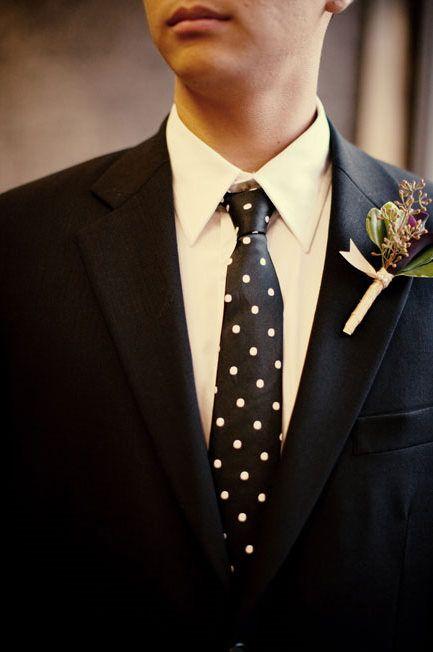Photo by Sarah K. Chen / polka dot inspiration, polka dot grooms tie / inspiredbythis.com