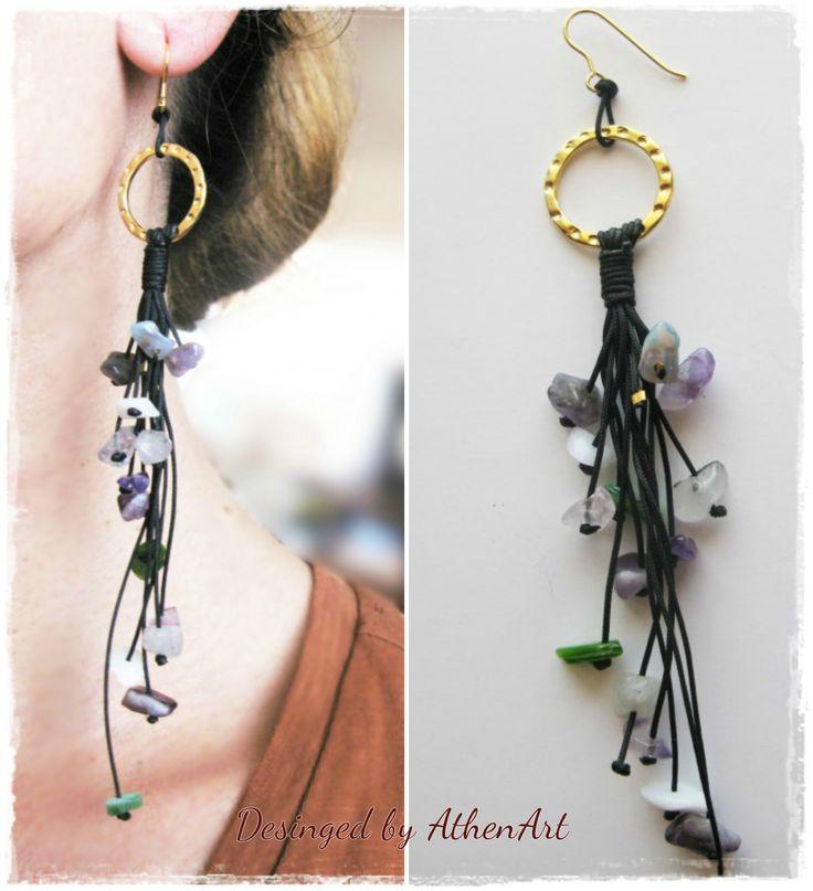 Ημιπολύτιμες πέτρες και ασήμι! Υπέροχο statement earring από την AthenArt!