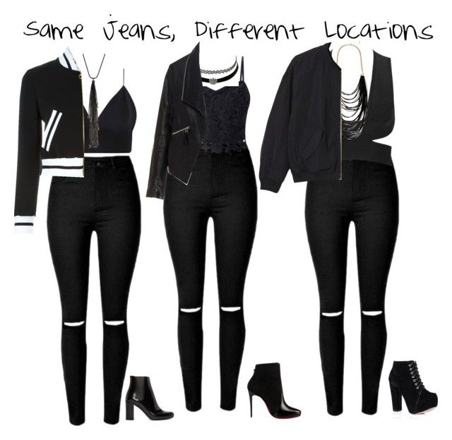 """""""Same Jeans, Different Locations"""" by brianapicardi ❤ liked on Polyvore featuring Lipsy, Charlotte Russe, Sparkling Sage, Moschino, Zizzi, Monki, Yves Saint Laurent, Christian Louboutin and Lydell NYC"""