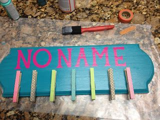 no name board - must go to hobby lobby to purchase the wood plaque  wood letters, add some clothespins, add some paint  ribbon to hang, DONE! #summertodo