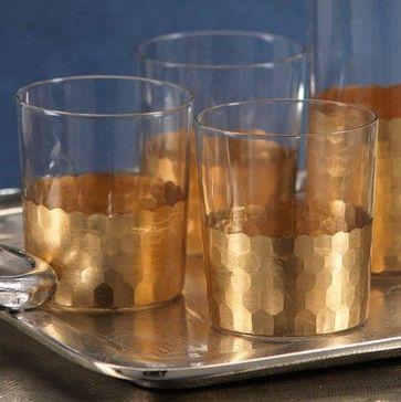 Fez Cut Gold Leaf Glass Tumblers - contemporary - everyday glassware - Zinc Door