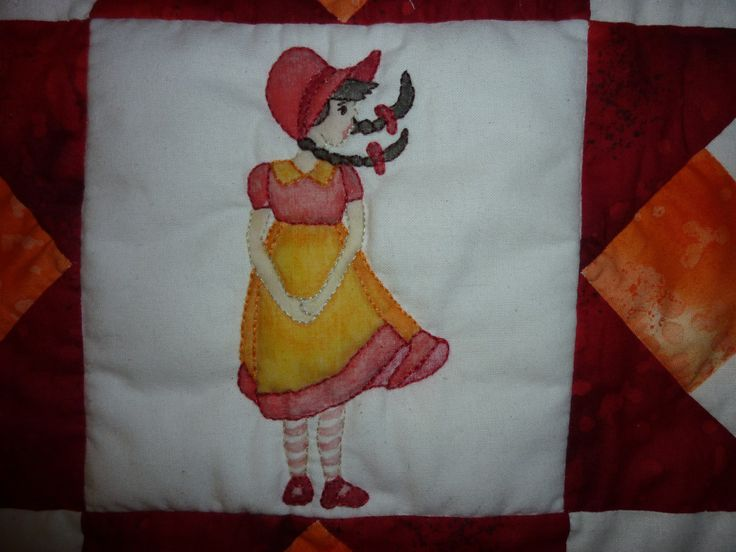 Crib quilt, hand and machine pieced, appliqued, hand quilted and embroidered, hand painted.