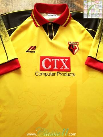 Official Mizuno Watford home football shirt from the 1996/97 season.