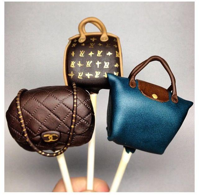 Chanel, Louis Vutton purse cake pops